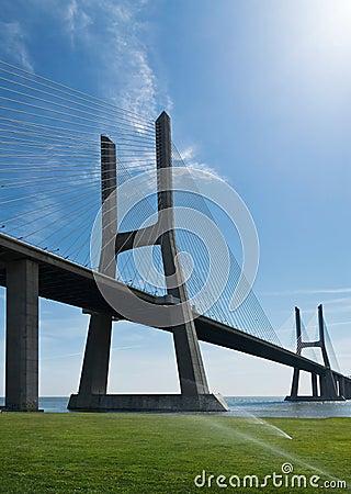 View of Vasco da Gama bridge in Lisbon