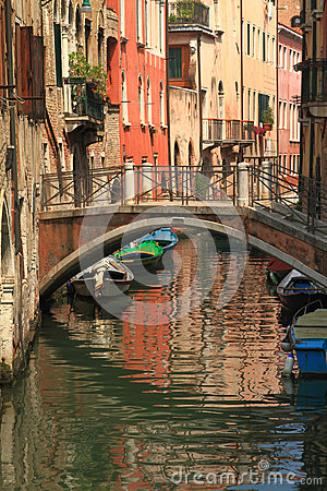 View of Venice with canal and old buildings