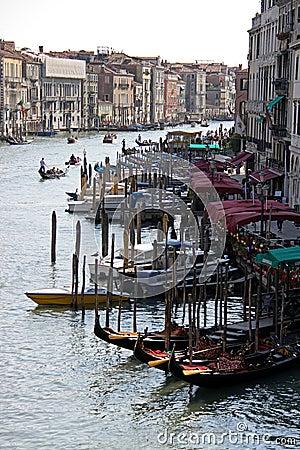 View of Venice gondolas from Rialto Bridge Editorial Photography