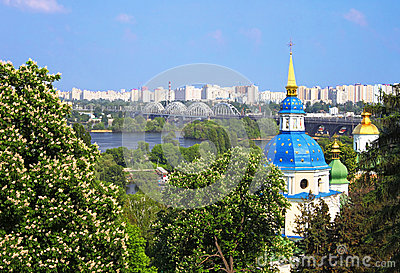 View Of Vidubichi Monastery And The City Kyiv Royalty Free Stock Photos - Image: 25294308