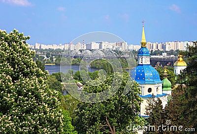 View of Vidubichi monastery and the city Kyiv