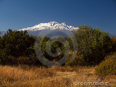 View of Volcano Iztaccihuatl in Mexico