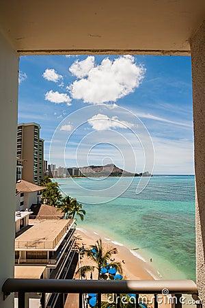 View of Waikiki Beach from Hotel Room