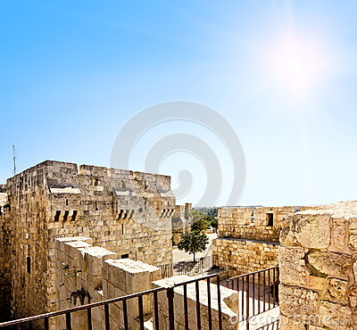 View from the walls of ancient Jerusalem to Jaffa Gate amid sunny skies