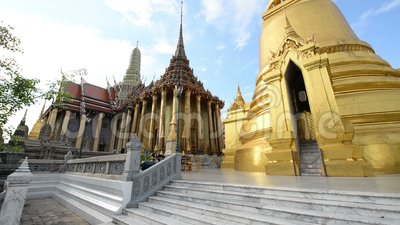 View of Wat Phra Kaew Temple of the Emerald Buddha. It is one of famous tourist attraction in Bangkok, Thailand.  stock video