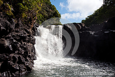 View of the waterfall on Mauritius