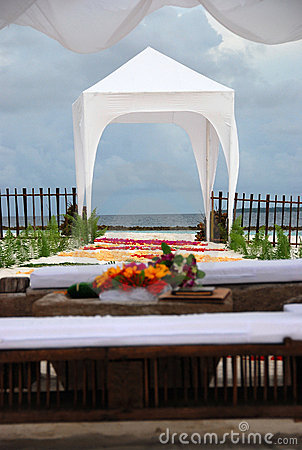 View on wedding altar on the beach