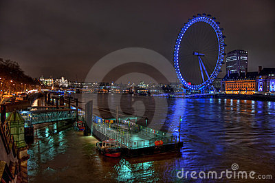 View from Westminster Bridge at twighlight, London Editorial Stock Image