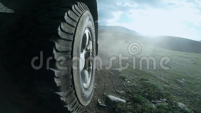River Valley Auto >> View Of The Wheel Of A Car Traveling Along A Valley In A Countryside Suv Rides On A High Mountain Road Over A River