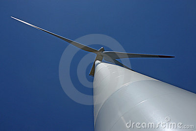 View of wind mill turbine from the ground