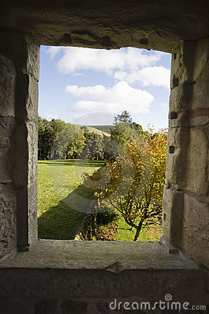 View of the window of abandoned castle