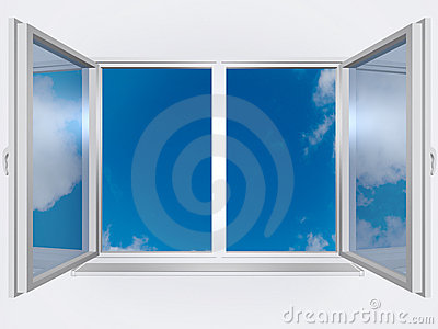 View from the window of blue sky