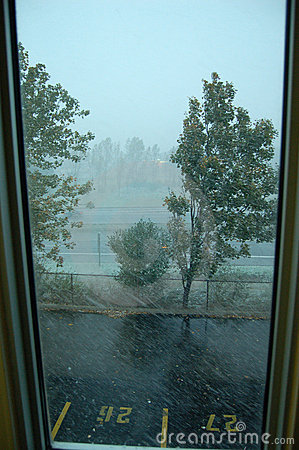 View from a window during a snow storm