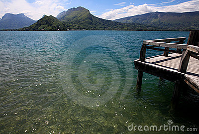 View from a wooden jetty over Lake Annecy