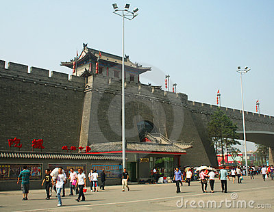 A View of the Xi an City Walls North Gate Editorial Stock Image
