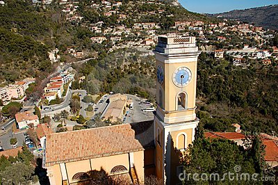 View on the yellow church of Eze garden, France