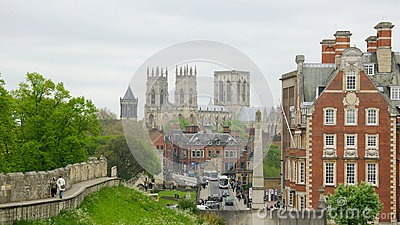 View on York Minster along fortress wall Editorial Stock Image