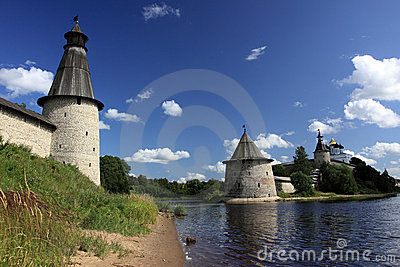 Viewing towers of a city fortress of Pskov