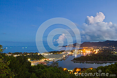 Viewpoint of chaweng  koh samui on night