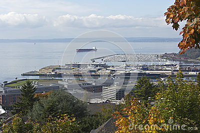 Viewpoint of an industrial port and marina.