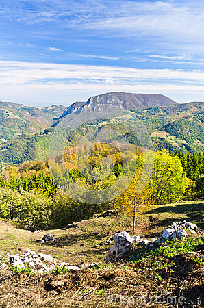 Free Viewpoint On A Landscape Of Mount Bobija, Peaks, Hills, Rocks, Meadows And Colorful Forests Stock Photography - 35862792