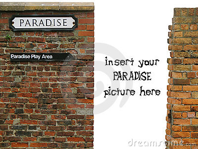 Vignette with paradise sign on old worn brick wall