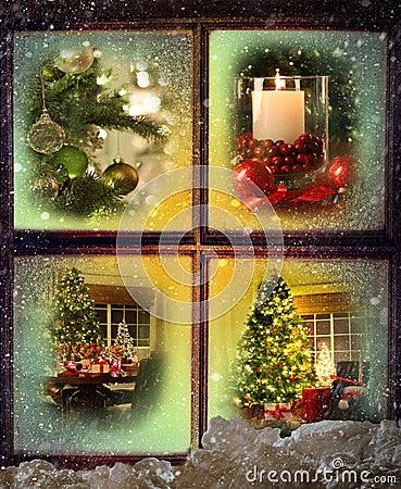 Vignettes of Christmas scenes
