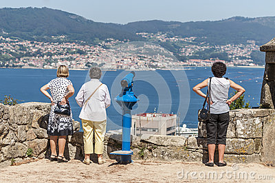 Vigo tourists Editorial Stock Photo
