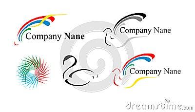 Vijf emblemen: een duif en anderen