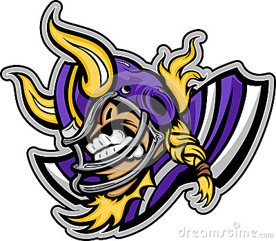 Viking Football Mascot Wearing Helmet