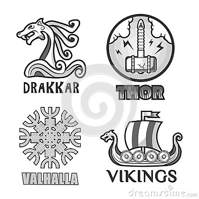 Free Viking Scandinavian Ancient Warriors Labels Set Of Ship, Arms Shields And Helmet Stock Photography - 95598232