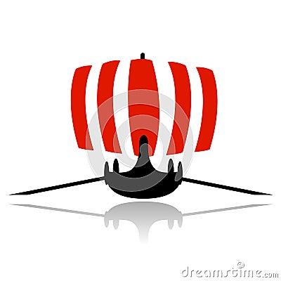 Viking ship sailboat vector
