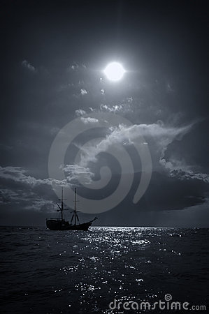 Viking ship and sun at sea