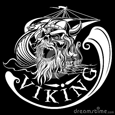 Free Viking Skull On A Background Of Drakkar, Warship, Vector Illustr Stock Photography - 74928112
