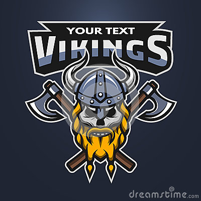 Free Viking Warrior Skull And Axes Emblem. Royalty Free Stock Photos - 73049548