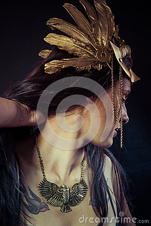 Free Viking, Warrior Woman With Gold Mask, Long Hair Brunette. Long H Stock Photography - 36294062
