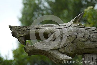 Viking woodcarving of mythical beast, Denmark