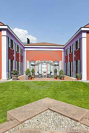 Villa in classic style, view from the garden