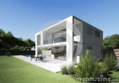 Villa moderna con il terrazzo ed il giardino immagini for Giardino villa moderna