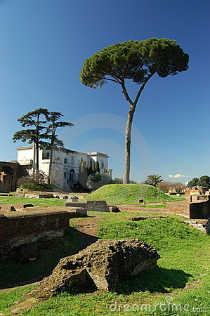 Villa & tree on the Palatine Hill in Rome