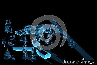 Village (3D xray blue)