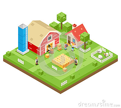 Village Agriculture Farm Rural House Building Isometric 3d Lowpoly Icon Real Estate Garden Symbol Meadow Background Flat Vector Illustration