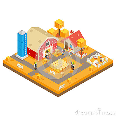 Village Agriculture Farm Rural House Building season Autumn Isometric 3d Lowpoly Icon Real Estate Garden Symbol Meadow Vector Illustration