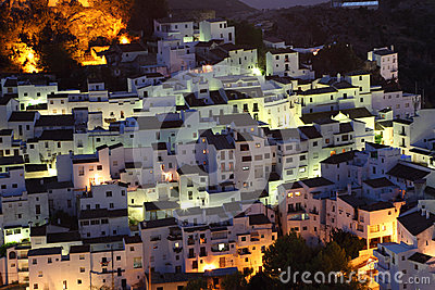 Village Casares at night. Spain