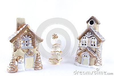 Village christmas on the snow