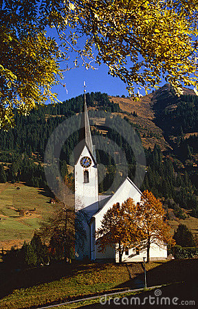 Village church in the Austrian mountains