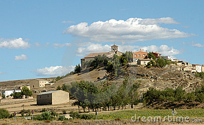 Village with church on hill