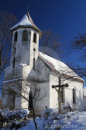 Village church in ruins, Romania