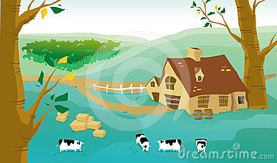 Village and cows on a farm