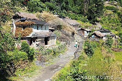 Village in guerrilla trek - western Nepal Stock Photo